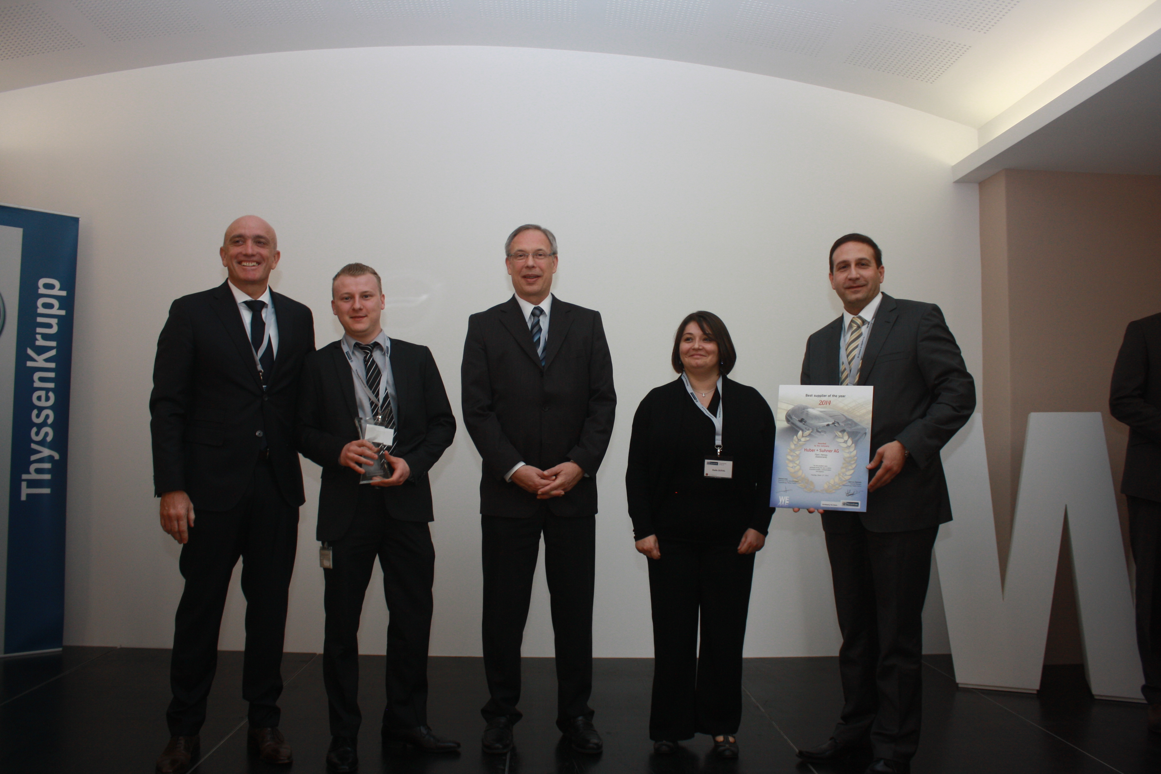 HUBER+SUHNER receives best supplier award from ThyssenKrupp Presta France S.A.S.