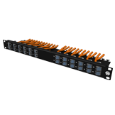 1U high density patch panel premium, angled to two sides