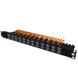 1U high density patch panel premium, angled to one side