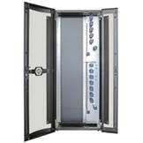The 900 mm wide rack has integrated patch cord management on the right-hand side.